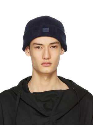 Acne Studios Navy Wool Patch Beanie