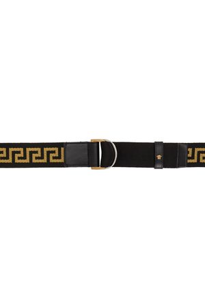 Versace Black & Gold Greca Belt