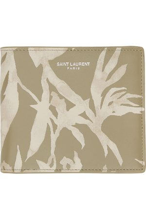 Saint Laurent Beige & Khaki Printed Bifold Wallet