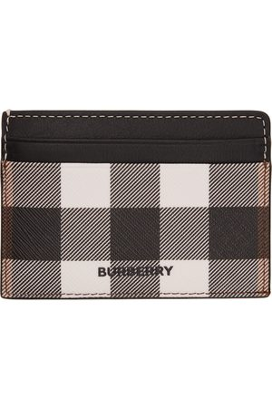 Burberry Black & White E-Canvas Check Kier Card Holder