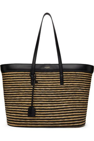 Saint Laurent & Beige Straw East/West Tote