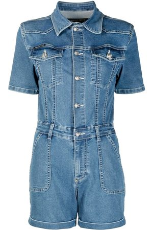 Philipp Plein Button-through denim playsuit