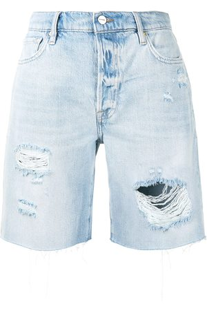Frame High-rise ripped shorts