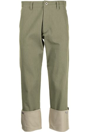 Ports V Contrast turn-up trousers