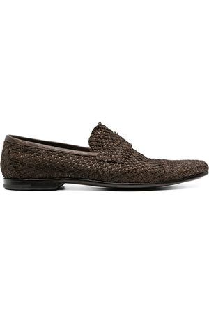 Premiata Woven-effect leather loafers