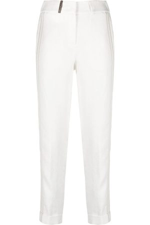 PESERICO SIGN Side-stripe cropped trousers