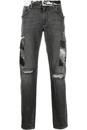 Dolce & Gabbana Ripped camouflage-detail bootcut jeans