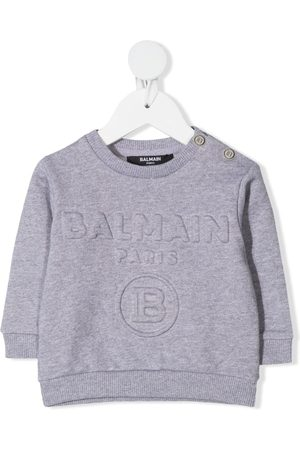 Balmain Embossed-logo cotton jumper