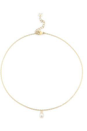Mateo 14kt yellow single pearl drop chain anklet
