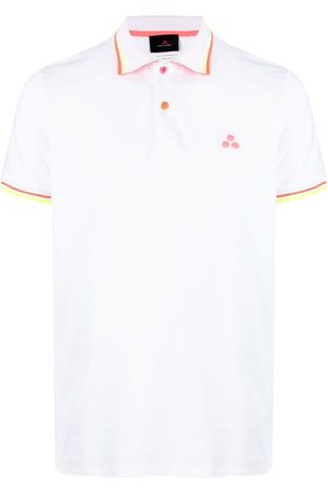 Peutery Stripe-trim embroidered polo shirt