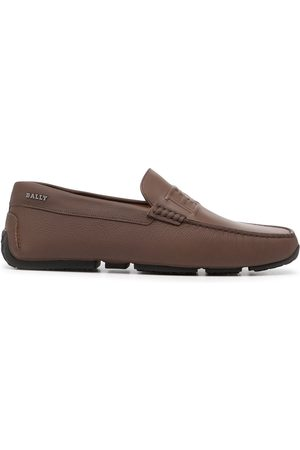 Bally Embossed-logo leather driving shoes