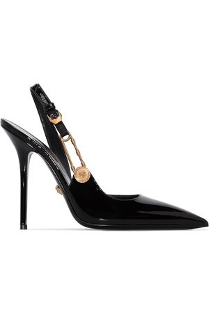 VERSACE Women Heels - 110mm safety-pin leather pumps