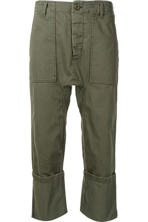 R13 Cropped cotton cargo trousers