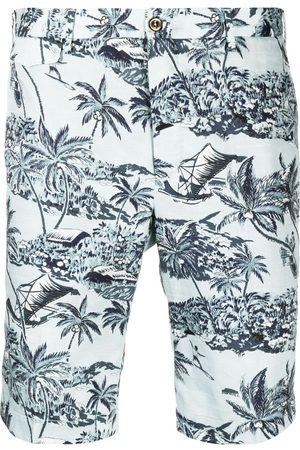 PT01 Palm-tree print cotton shorts