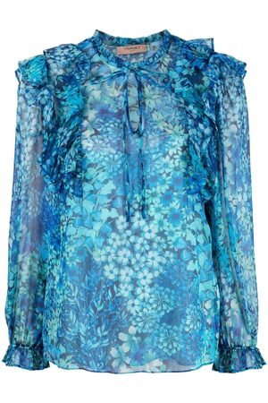 Twin-Set Floral poet-sleeve ruffled blouse