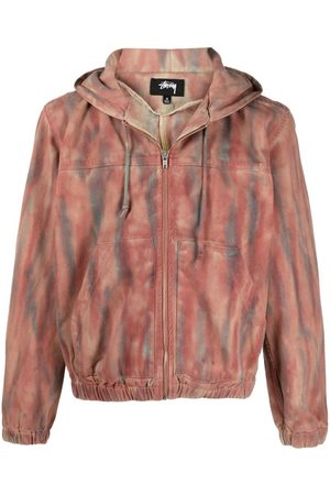 STUSSY Dyed zip-up cotton hoodie