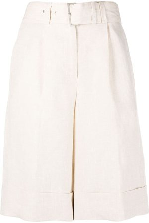 PESERICO SIGN Belted wide-leg linen shorts