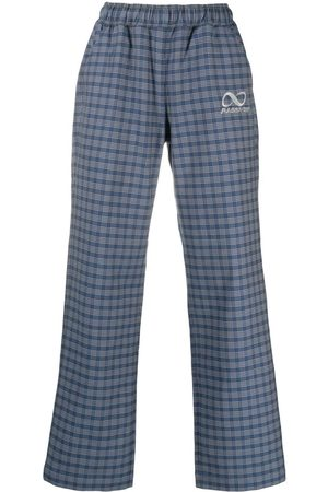 PACCBET Checked straight-leg trousers