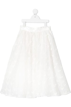 Charabia Embroidered butterfly A-line skirt