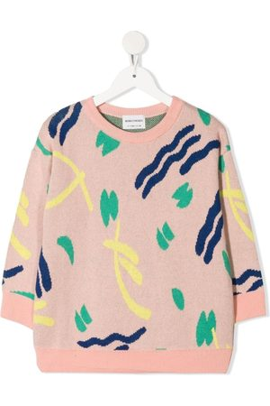 Bobo Choses Girls Jumpers - Strokes intarsia organic cotton jumper