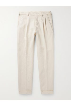 Loro Piana Men Slim Pants - Slim-Fit Tapered Pleated Cotton and Linen-Blend Trousers