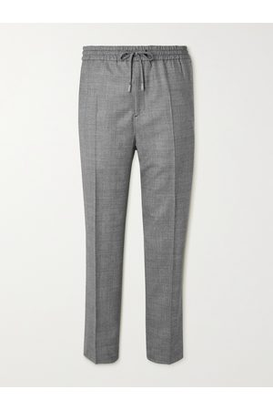 Mr P. Men Formal Pants - Tapered Checked Virgin Wool Drawstring Golf Trousers