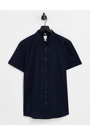 River Island Short sleeve muscle fit oxford shirt in