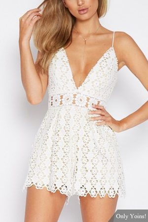 YOINS Women Playsuits - Sexy V-neck Lace Playsuit