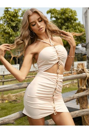 YOINS Self tie halter Cut out Ruched Chain Design Mini Dress