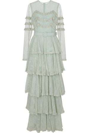 Costarellos Miranne Chantilly lace gown