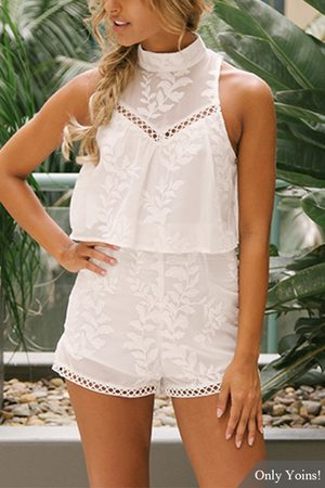 YOINS Random Embroidery Cut Out Playsuit
