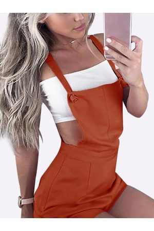 YOINS Women Playsuits - Casual Tie-Strap Playsuits in Rusty