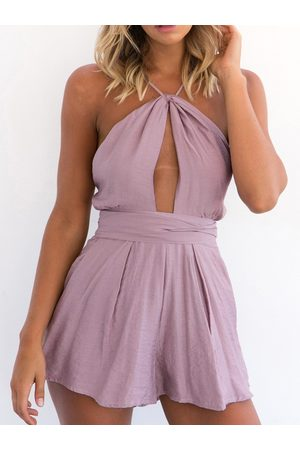 YOINS Sexy Cut Out Backless Playsuit with Self-tie Design