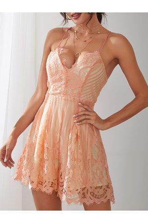 YOINS Sexy V Neck Lace-up Back Strappy Lace Playsuit in