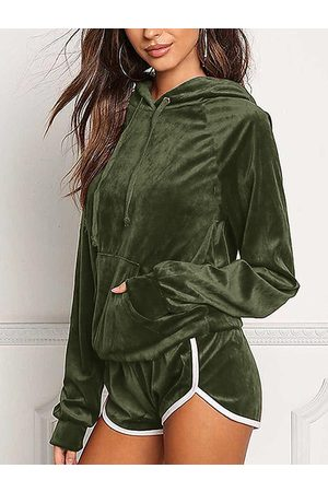YOINS Women Tracksuits - Active Hooded Design Elastic Tracksuit in Amry Green