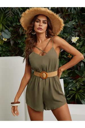 YOINS Crossover Strap Front Elastic Waistband Back Button Clasp Playsuit