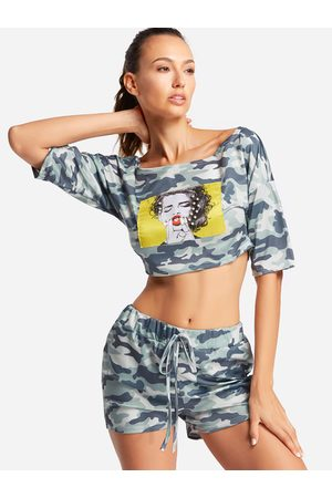 YOINS Camouflage Cropped Short Sleeves Women Tracksuit