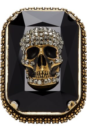 Alexander McQueen Gold Jewelled Skull Ring