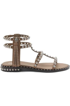 Ash Power Chocolate Leather & Silver Studs Sandals