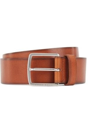 HUGO BOSS Sjeeko Leather Silver Buckle Belt
