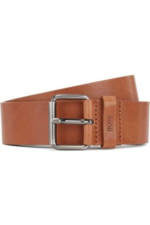 HUGO BOSS Serge Leather Silver Buckle Belt