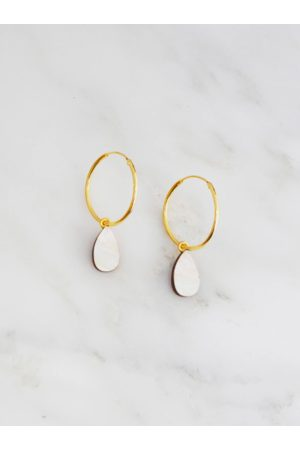 Wolf & Moon Raindrop Hoops in Mother of Pearl