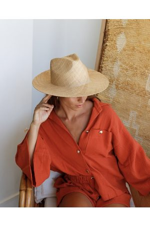 Local Luxe Swim Women Hats - Classic Woven Fedora - Natural Beige