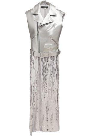 JUNYA WATANABE Faux Leather & Sequined Georgette Dress