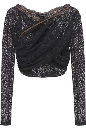 Y / PROJECT Women Crop Tops - Twisted Lace Cropped Top