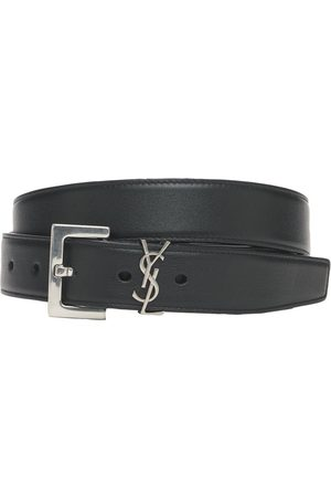 Saint Laurent Women Belts - 3cm Monogram Smooth Leather Belt