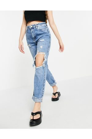 River Island Carrie super distressed mom jeans in mid auth