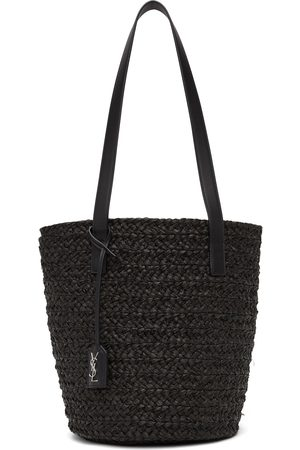 Women Tote Bags - Saint Laurent Raffia Small Panier Tote