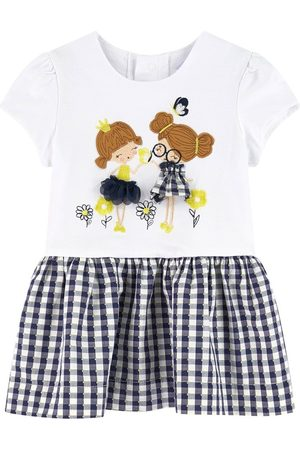 Mayoral White Gingham Girls Print Dress - Girl - 6 months - Navy - Casual dresses