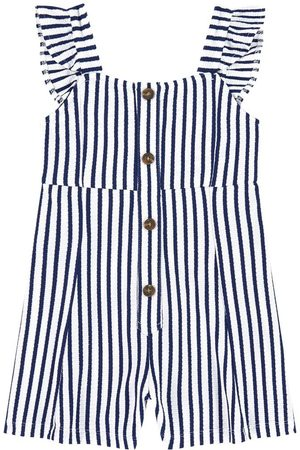 Mayoral Striped Romper White - Girl - 8 years - - Playsuit and jumpsuits